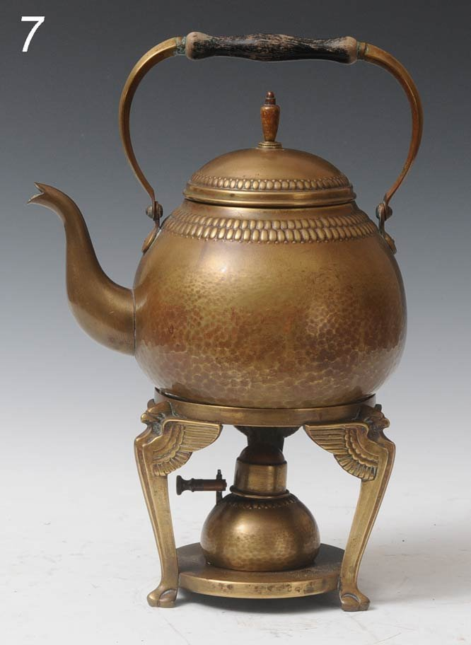 7: WMF HAMMERED COPPER  KETTLE AND STAND