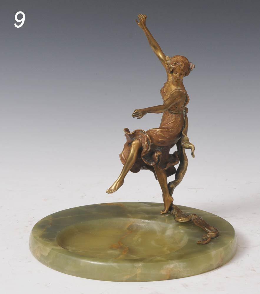 9: AUSTRIAN BRONZE AND ONYX CENTERPIECE of a dancing fi