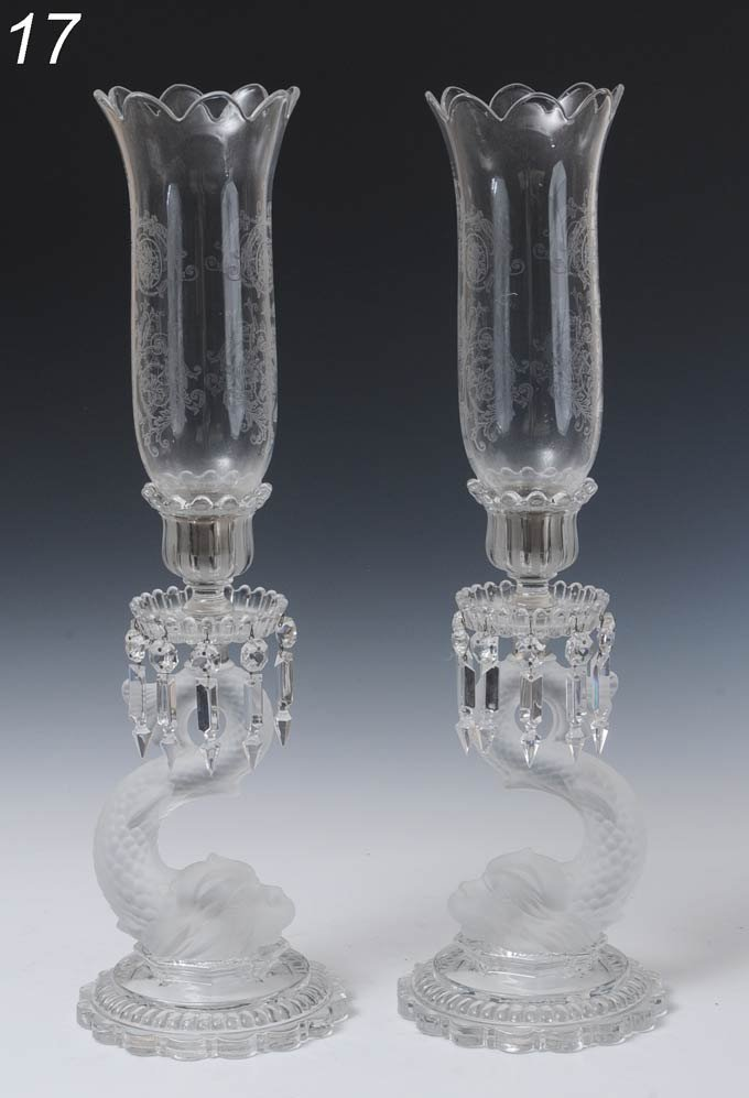 17: BACCARAT DOLPHIN CANDLEHOLDERS WITH ETCHED HURRICAN