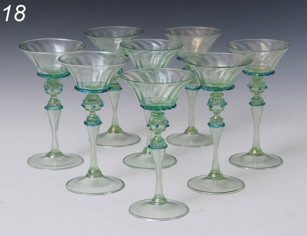 "18: SET OF 8 MURANO WINE GLASSES 6 1/2"" high   Shipping"