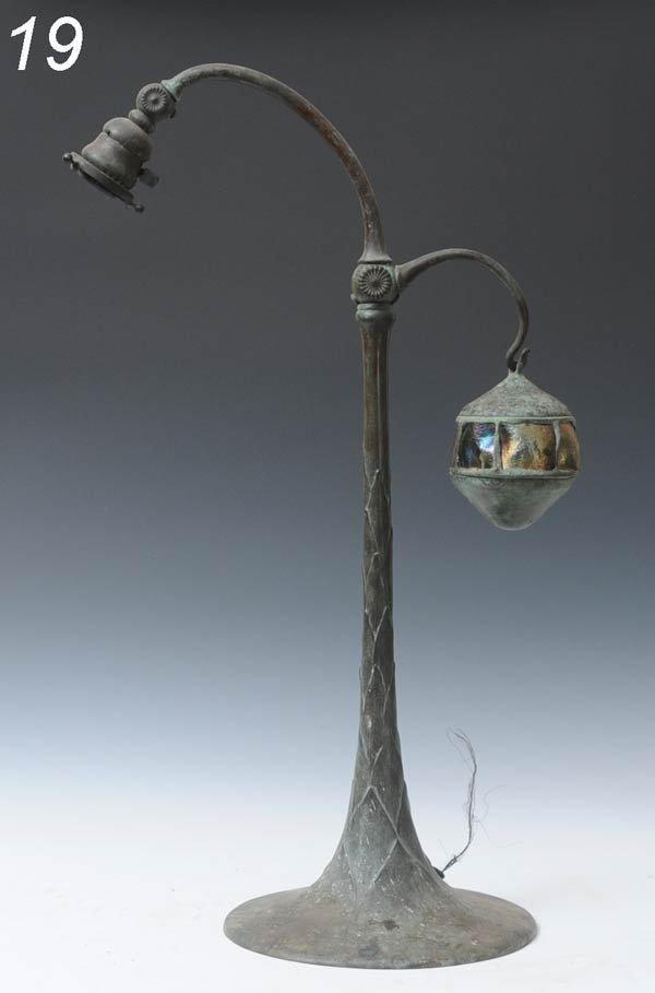 19: TIFFANY STUDIOS BRONZE COUNTER-BALANCE LAMP BASE wi