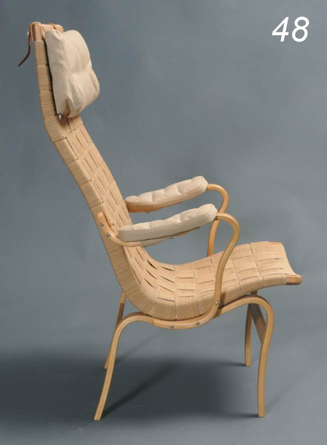 48: BRUNO MATHSSON high back arm chair with bentwood fr
