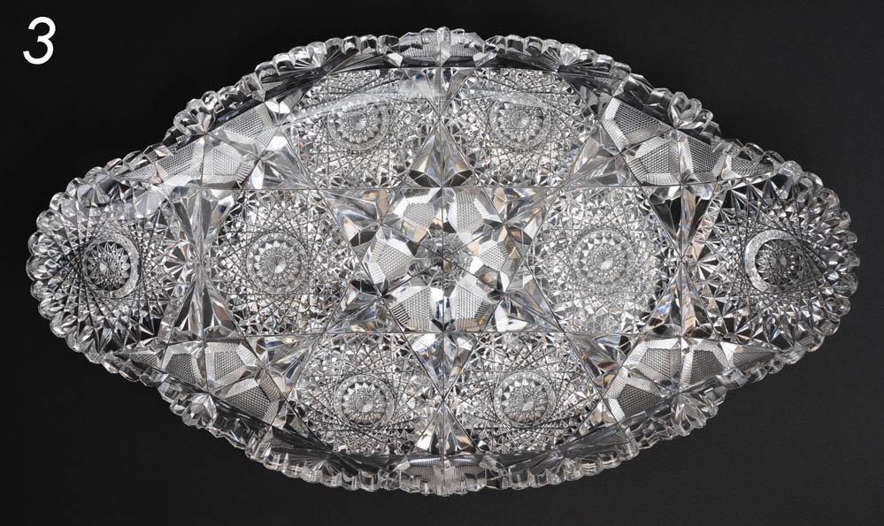 3: FINE AMERICAN BRILLIANT PERIOD CUT GLASS ICE CREAM D