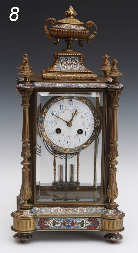 8: FRENCH CHAMPLEVE CRYSTAL REGULATOR with urn finial 1