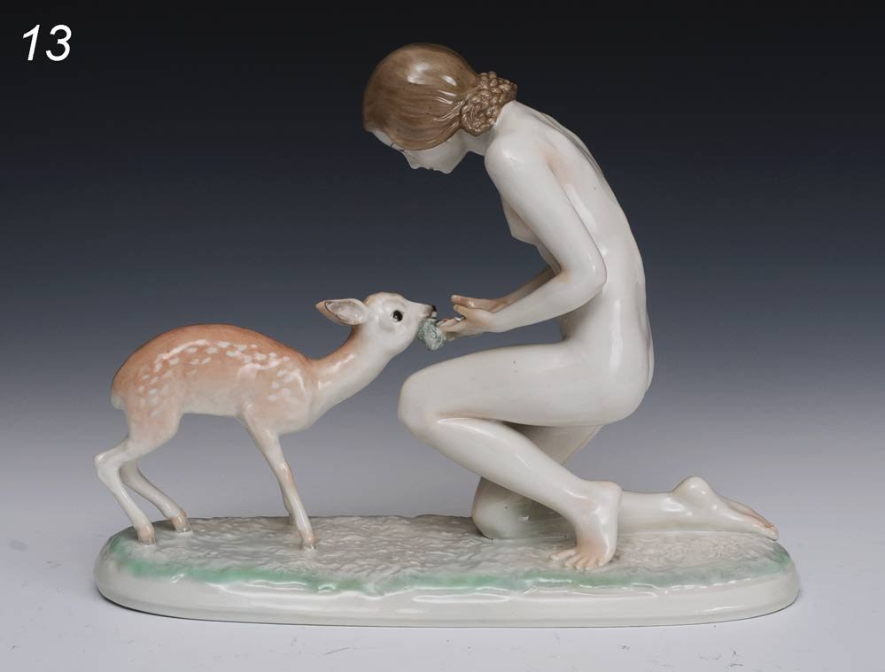 13: HUTSCHENREUTHER PORCELAIN FIGURE OF NUDE WOMAN WITH