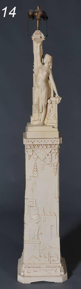 14: NORTHWEST TERRA COTTA COMPANY Art Deco Lamp and Ped
