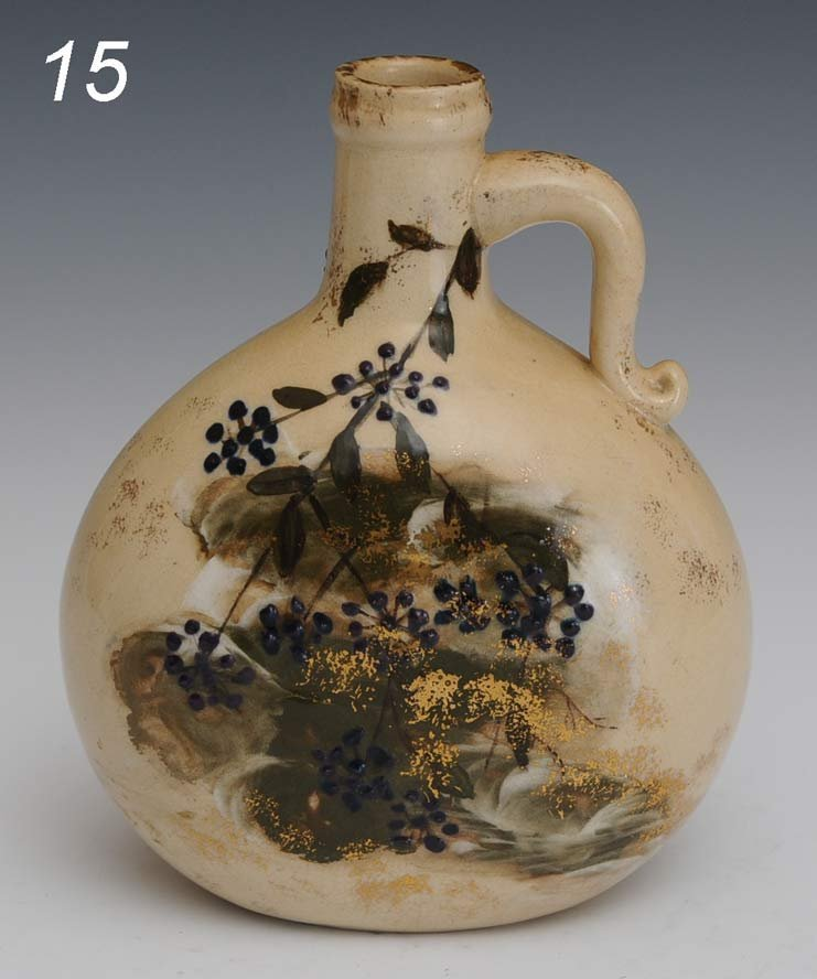 """15: EARLY ROOKWOOD POTTERY FLASK 6 1/2"""" high, circa 188"""