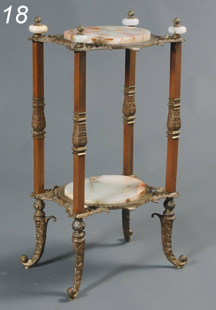 """18: LATE VICTORIAN BRASS AND ONYX STAND 33"""" high, top 1"""