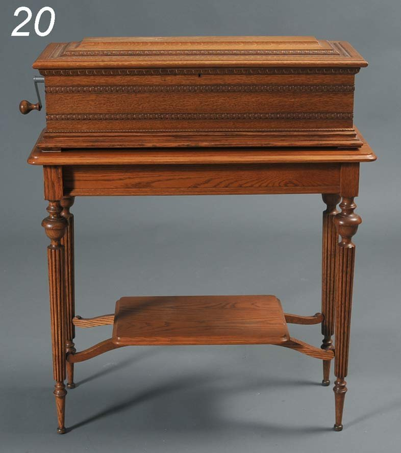 """20: VICTORIAN CYLINDER MUSIC BOX with oak case 14"""" cyli"""