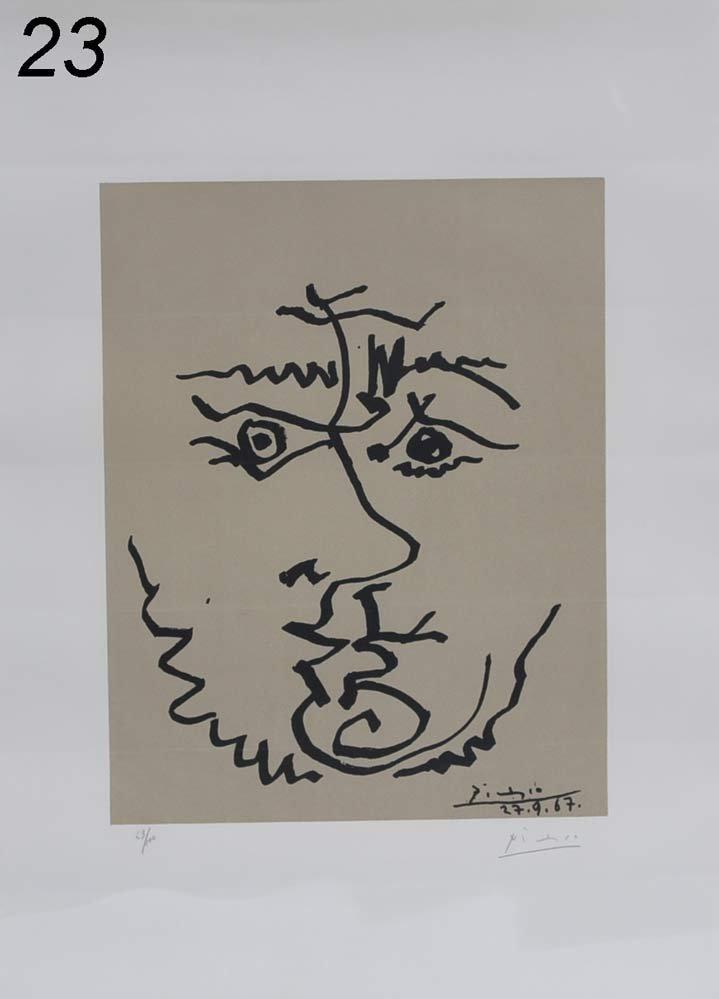 """23: PABLO PICASSO Tete 25"""" x 18 1/4"""" lithograph pencil"""