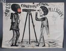 "101: ABRAHAM LINCOLN CAMPAIGN BANNER 36"" x 49"" black an"