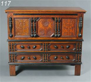 """117: WALLACE NUTTING """"CONNECTICUT SUNFLOWER"""" CHEST 45 1"""