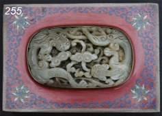 255: CHINESE JADE PENDANT mounted as dresser box lids w