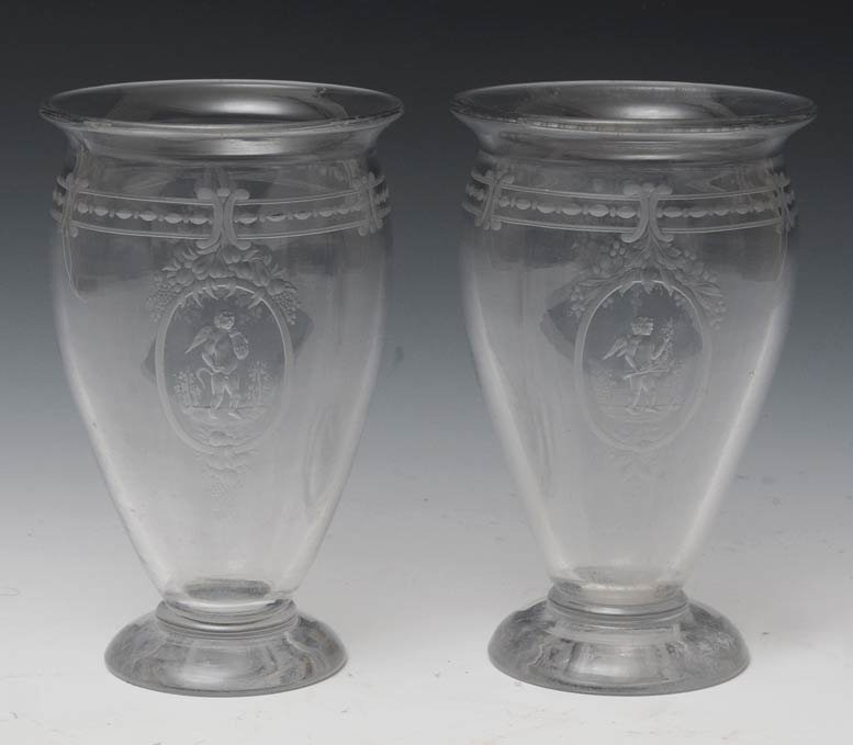 13: Pair of Hawkes Etched Glass Vases