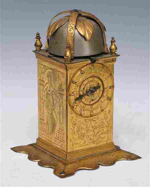 German Engraved Brass Table Clock