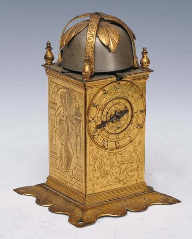 328: German Engraved Brass Table Clock