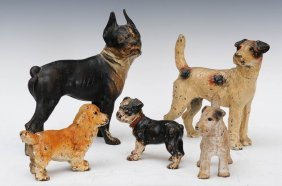 9: Group of Five Cast Iron Dog Door Stops