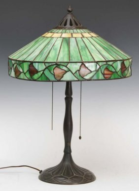 15: Handel Oak Leaf Table Lamp
