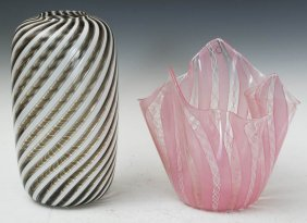Pair Of Venini Art Glass Vases