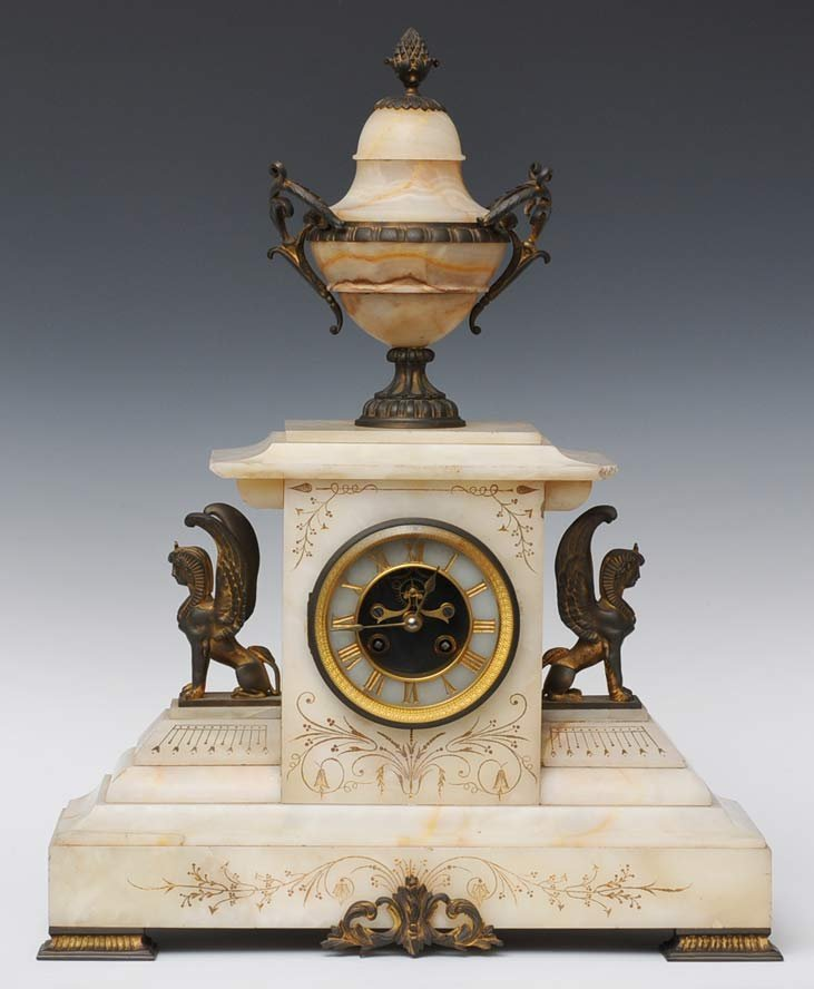 French Egyptian Revival Mantle Clock