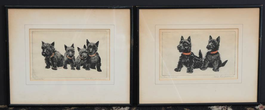 Pair of Scotty Dog Etchings