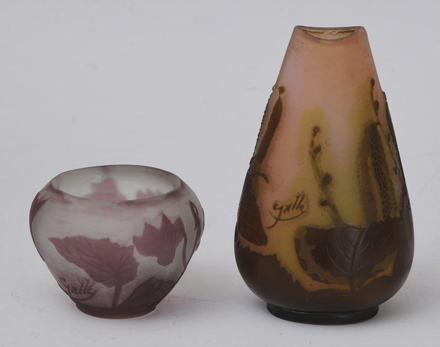 Pair of Galle Art Glass Vases