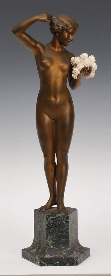 Art Deco Bronze and Ivory Figure