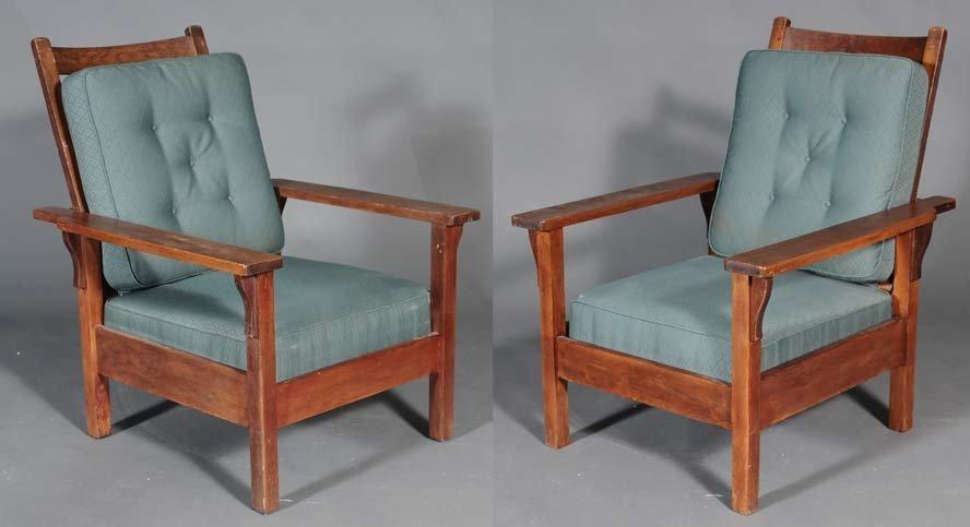 Pair of Similar Mission Oak Morris Chairs