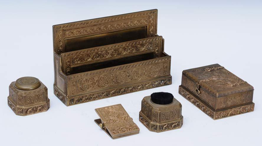 Tiffany Studios Bronze Desk Set