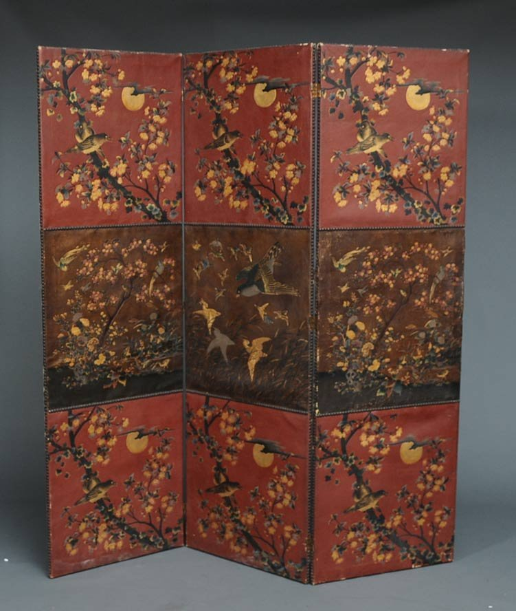Victorian Embossed Leather Dressing Screen
