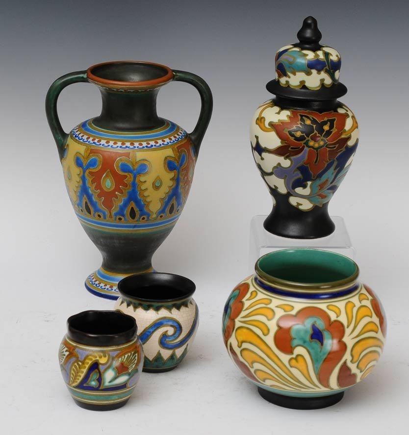 Group of 5 Gouda Vases