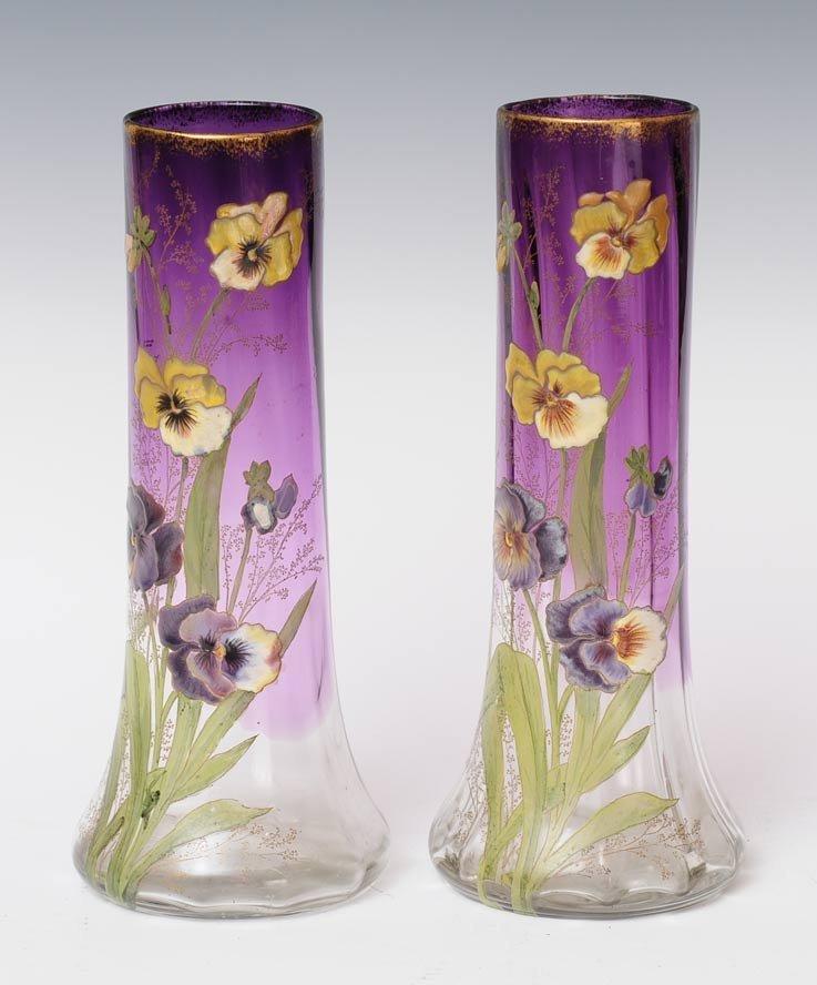 Pair of French Art Glass Vases