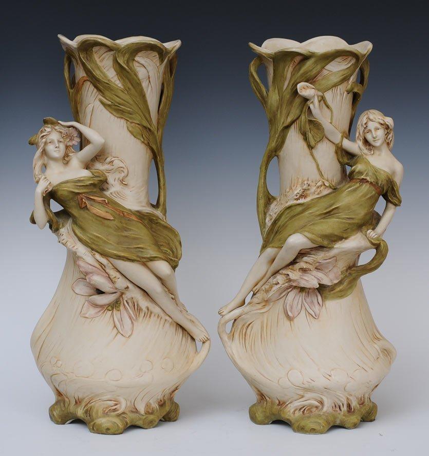Pair of Royal Dux Art Nouveau Vases