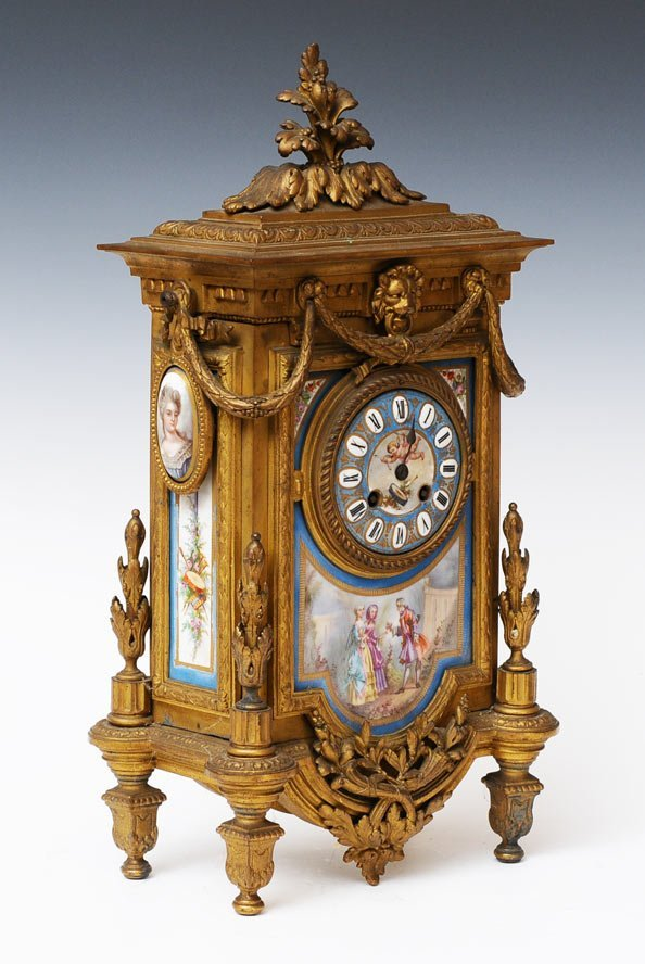 French Gilt Metal and Porcelain Mantle Clock