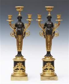 Pair of French Empire Bronze Candelabra