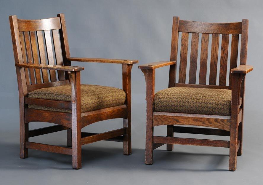 Pair Mission Oak Arm Chairs