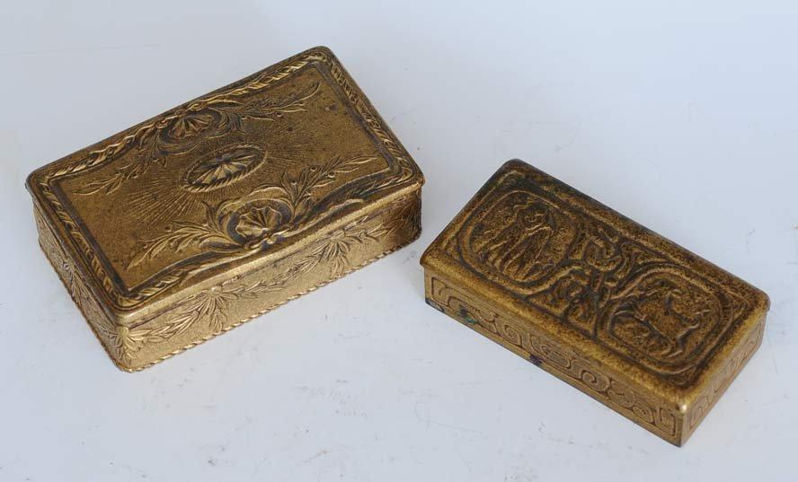 Pair of Tiffany Studios Bronze Boxes