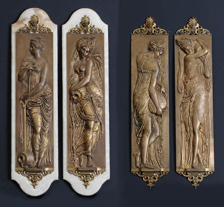 Set of Four French Bronze Wall Plaques