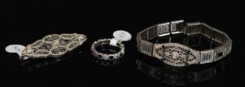 14k Gold Victorian Diamond Brooch  Bracelet