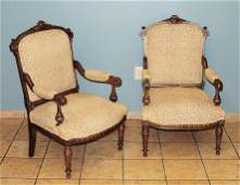 Pair of French Renaissance Revival Arm Chairs
