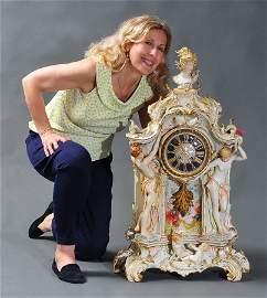Monumental KPM Porcelain Mantle Clock