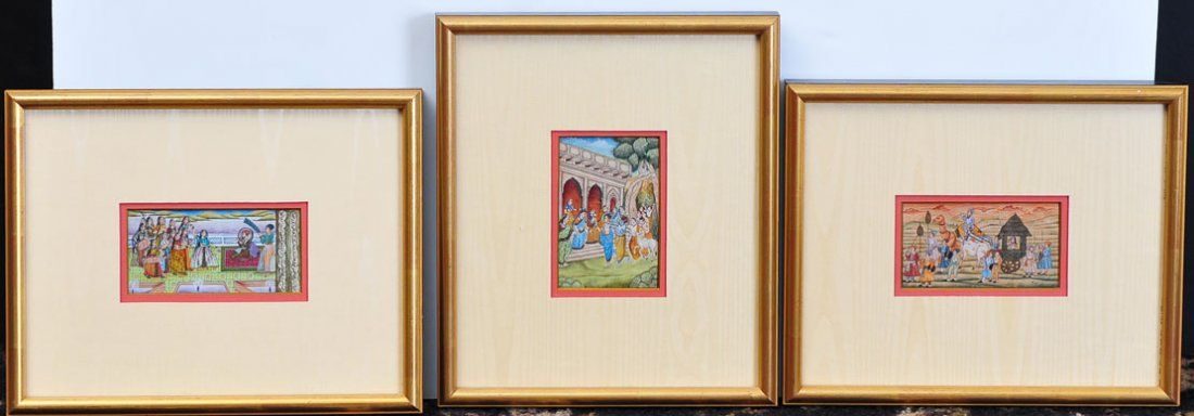 Three Miniature Indian Paintings