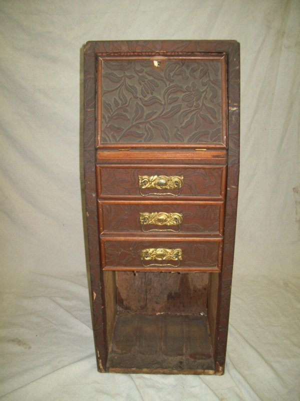 2: CARVED WOOD SMALL DROP FRONT DESK