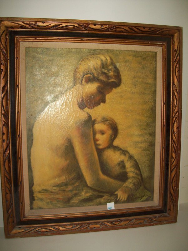 20: OIL ON CANVAS MOTHER & CHILD SIGNED ILLEG.