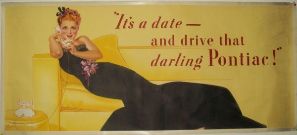 287: 1939 PONTIAC PETTY GIRL ADVERTISING POSTER.