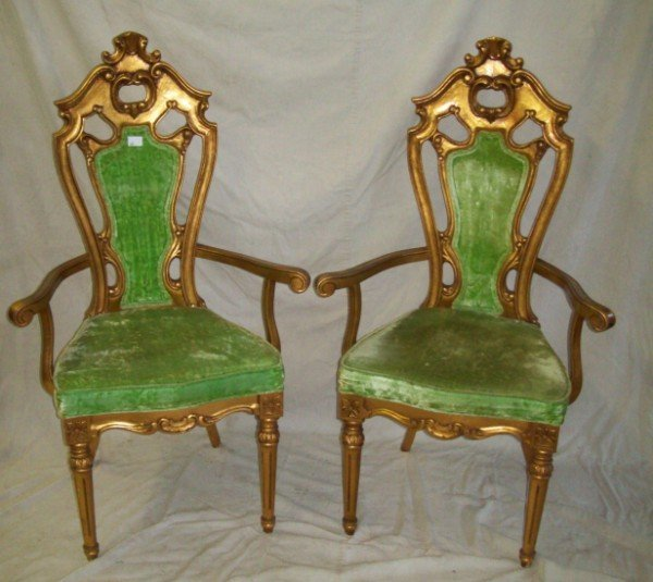 12: PAIR OF GOLD ARM CHAIRS