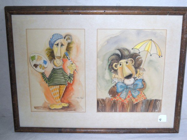 9: WATERCOLOR ILLUSTRATION SIGNED