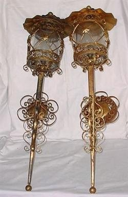 2488511: Pair of Gold Gilt Wrought Iron Italian Sconces