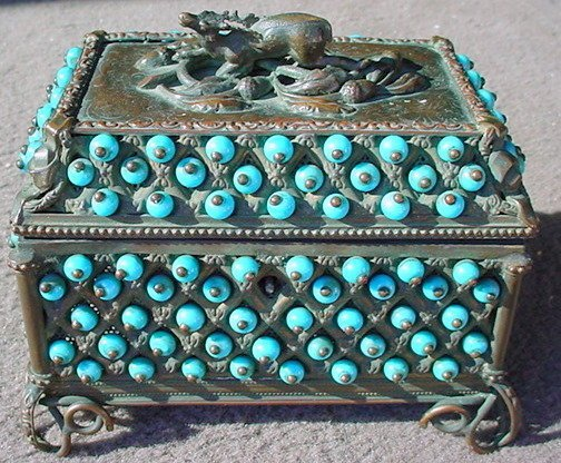 2488513: Antique Old French Bronze Stag Jewelry Casket