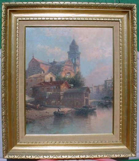 2488514: Antique Old Venetian Italian Canal Oil Paintin
